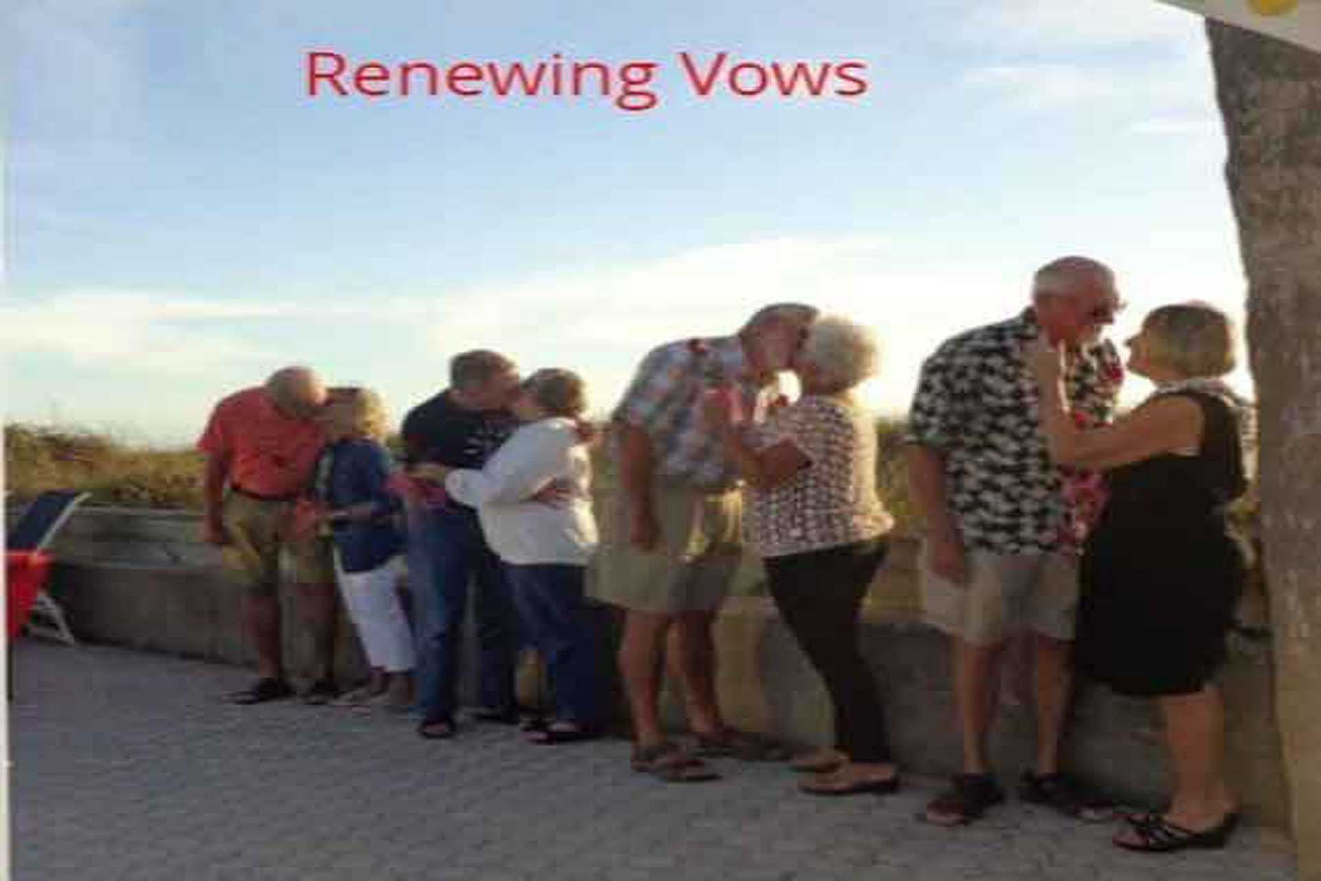 old couple kissing each other on valentine day at quarterdeck