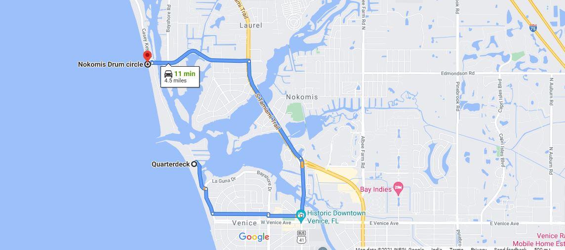 Quarterdeck to Nokomis Beach Distance Gmap