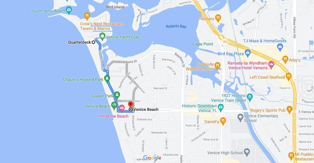 Venice beach distance from quarterdeck gmap